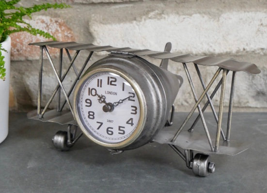 Industrial Style Desk/Mantel Aeroplane Clock