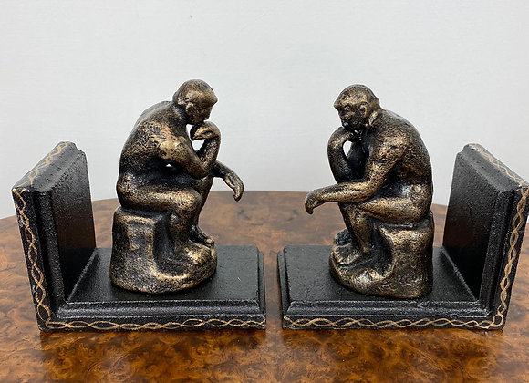 Pair Cast Iron Bookends The Thinker