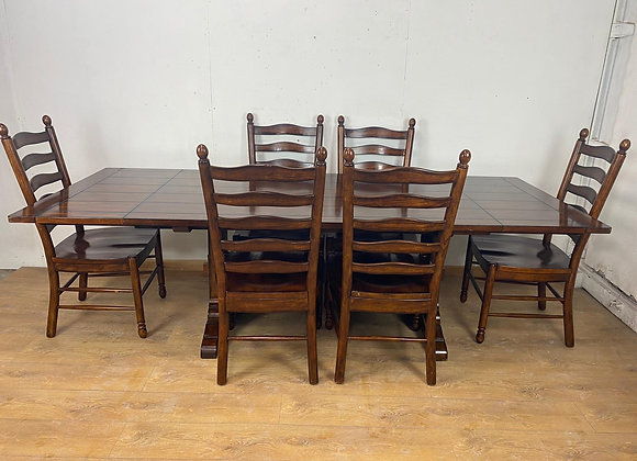 "Large Extendable Table 8 Foot 4"" and 6 Chairs"