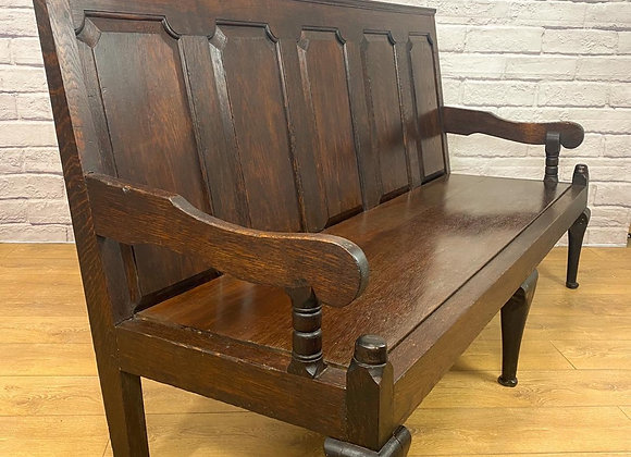Antique Oak Five Panelled Settle Circa 1920s