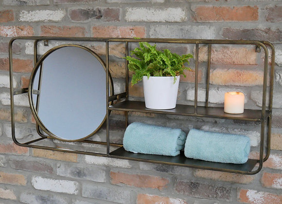 Industrial Style Metal Wall Unit With Adjustable Mirror