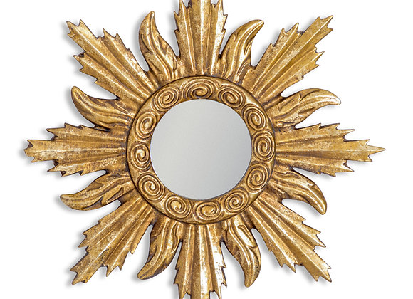 Small Gold Sun Design Mirror - Frame Size 31cm