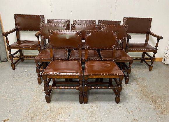 Set of 10 Oak Framed, Brown Leather Dining Chairs