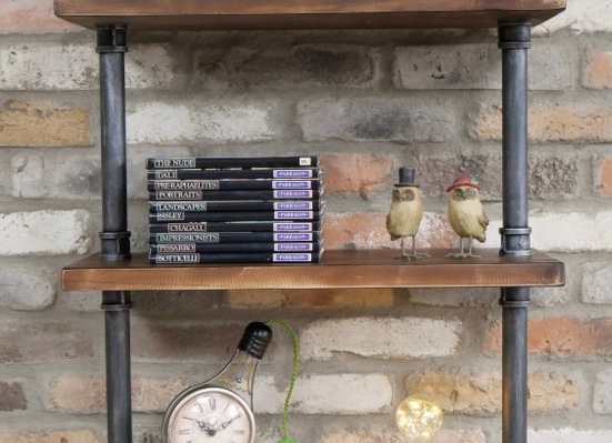 Industrial Style Metal Pipe / Wooden Storage Wall Shelves