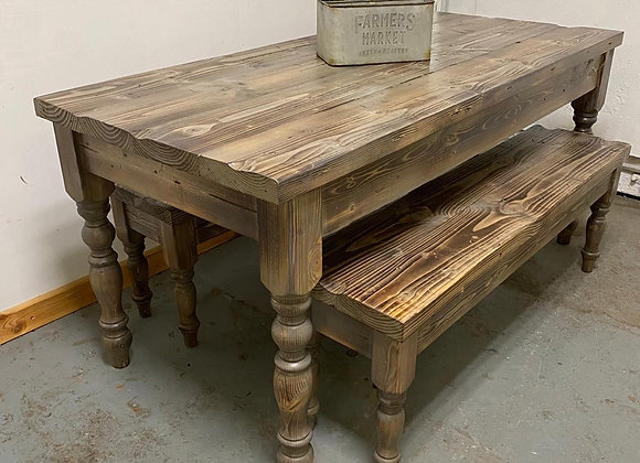 Industrial Chic Farmhouse Table  and 2 Benches