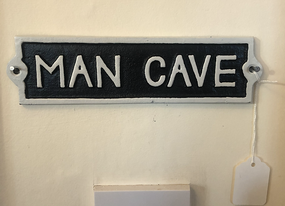 Cast Iron Man Cave Wall / Door Plaque Sign 21.5cm x 5.5cm - Postage Available