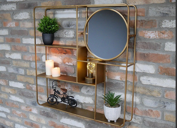 Wall Unit With Mirror Metal Gold Finish Shelves Storage Rack Organise Furniture