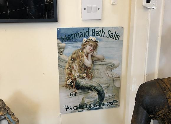 Large Metal Sign Mermaid Bath Salts 30cm x 40cm