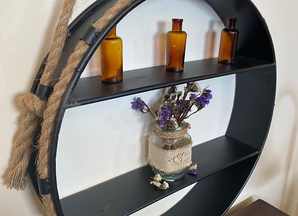 Circular Metal Industrial Style Wall Shelf with Rope Handle