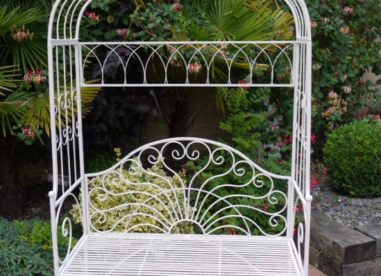 Gorgeous Ornate Garden Arch With Bench Seat