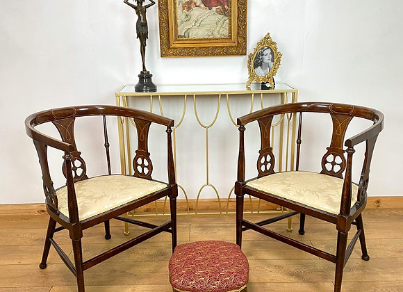 Pair Antique Edwardian Inlaid Elbow Chairs