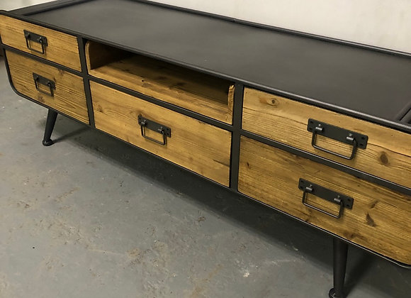 Industrial Urban Style Metal and Wood TV Stand