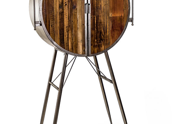 Tall Industrial Art Deco Style Round Industrial Bar Cabinet