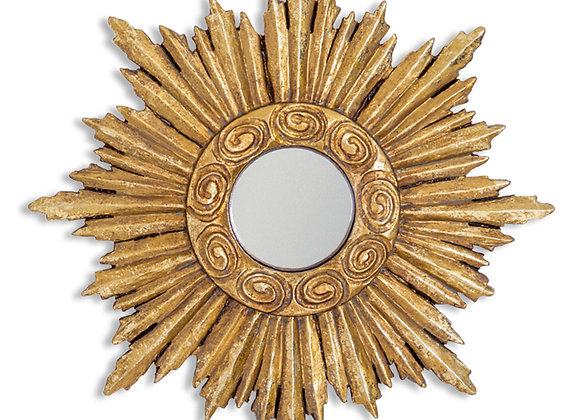 Small Gold Sun Design Convex Mirror - Frame Size 26cm