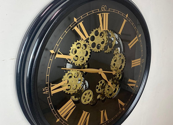 Large Black and  Gold Moving Gears Wall Clock