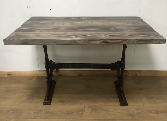 Industrial Table On Antique Cast Iron Base