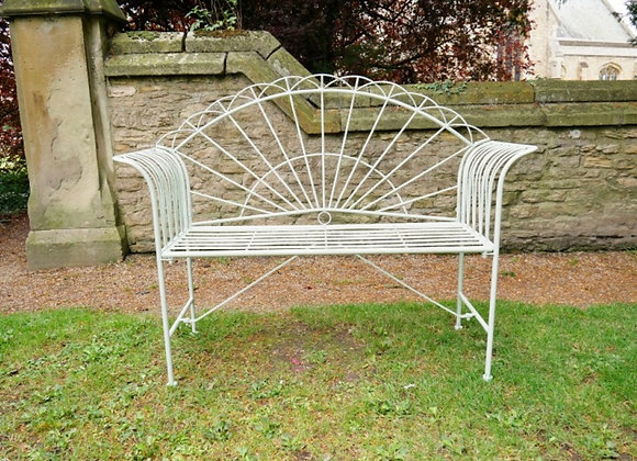 Art-Deco Style Metal Sunrise Garden Patio Bench with Scrolled Detail