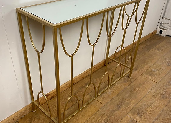 Gold Metal Console Table With Mirrored Top