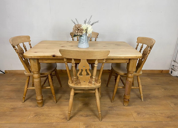 Rustic Solid Pine Table and 4 Chairs