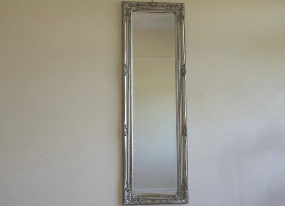 Silver Framed Rectangular Tall Wall  Mirror