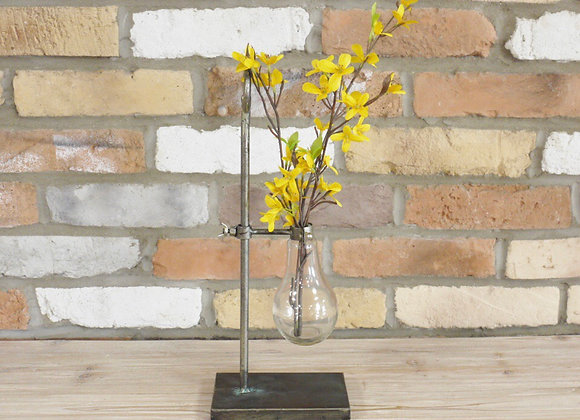 Industrial chic glass bulb flower holder with moveable height