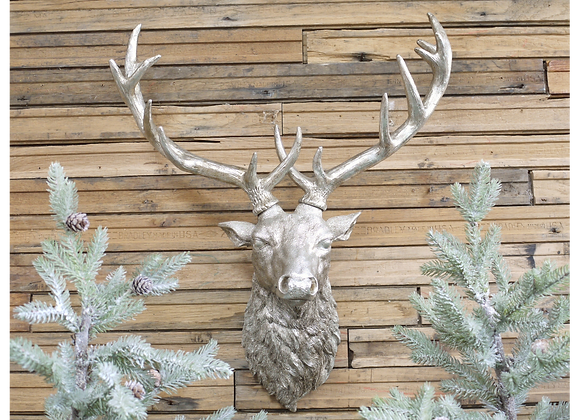 Large Silver Stage Resin Deer Head Wall Mounted