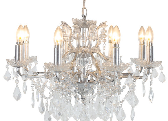 Beautiful Crystal 8 Branch Shallow Chandelier in Silver