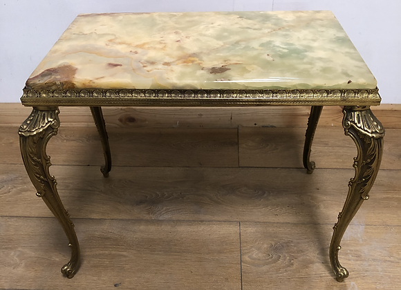 Small Vintage Onyx and Brass Side / Lamp Table