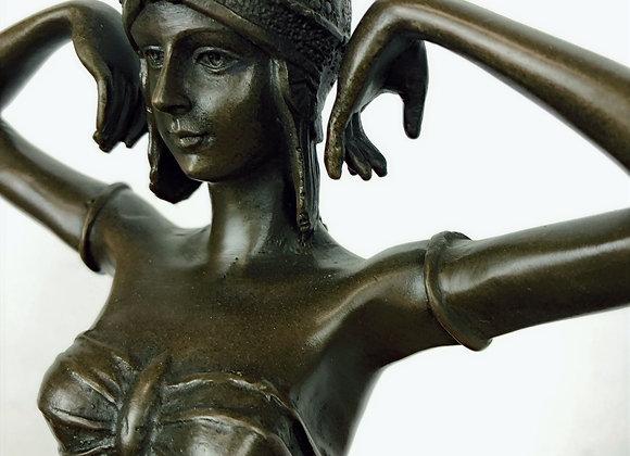 Large Bronze Garanti Sculpture of Scarab Dancer