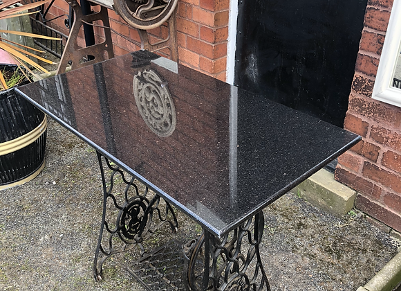Star Galaxy Granite Table On Antique Cast Iron Singer Base