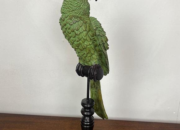 Green Parrot on Perch Figure