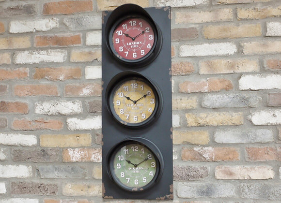 Traffic lights style large multi time zone wall clock