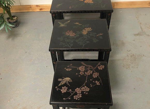 Vintage Oriental Nest of 4 Tables