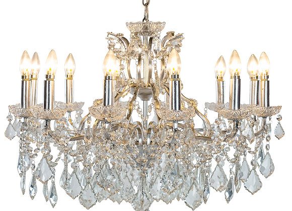 Large Beautiful Crystal 12 Branch Shallow Chandelier