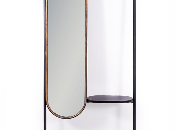 """Black and Gold """"Orwell"""" Mirror and Rail Dressing Unit"""