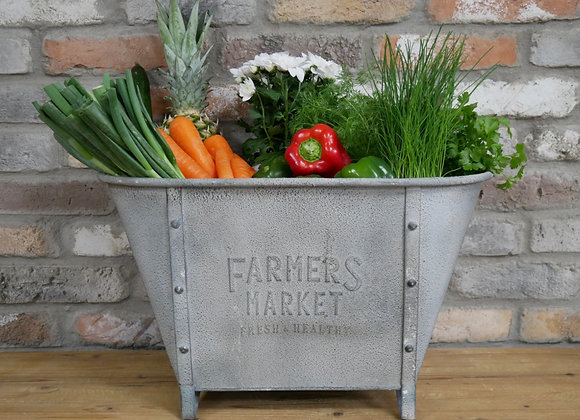 Large Galvanised Metal Planter Farmers Market