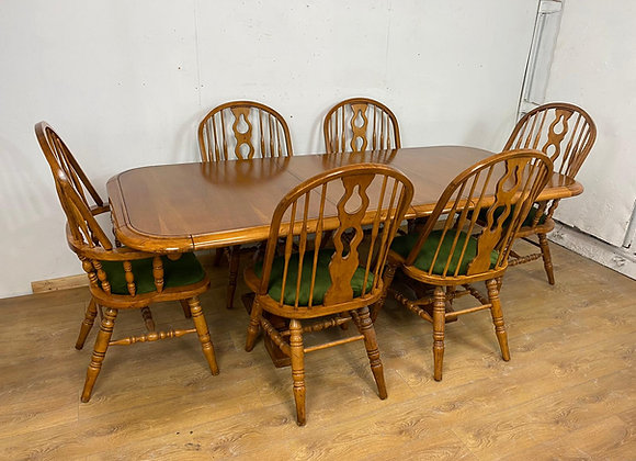 """Large Oak Extendable Table 7 Foot 6"""" and 6 Chairs"""