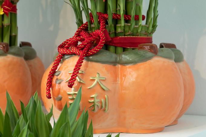 大吉大利五橘盆器/Five Oranges Fortune Pottery Planter