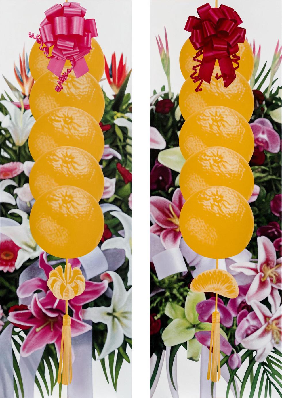 五橘、花對聯 / Five Oranges, Flower Couplet