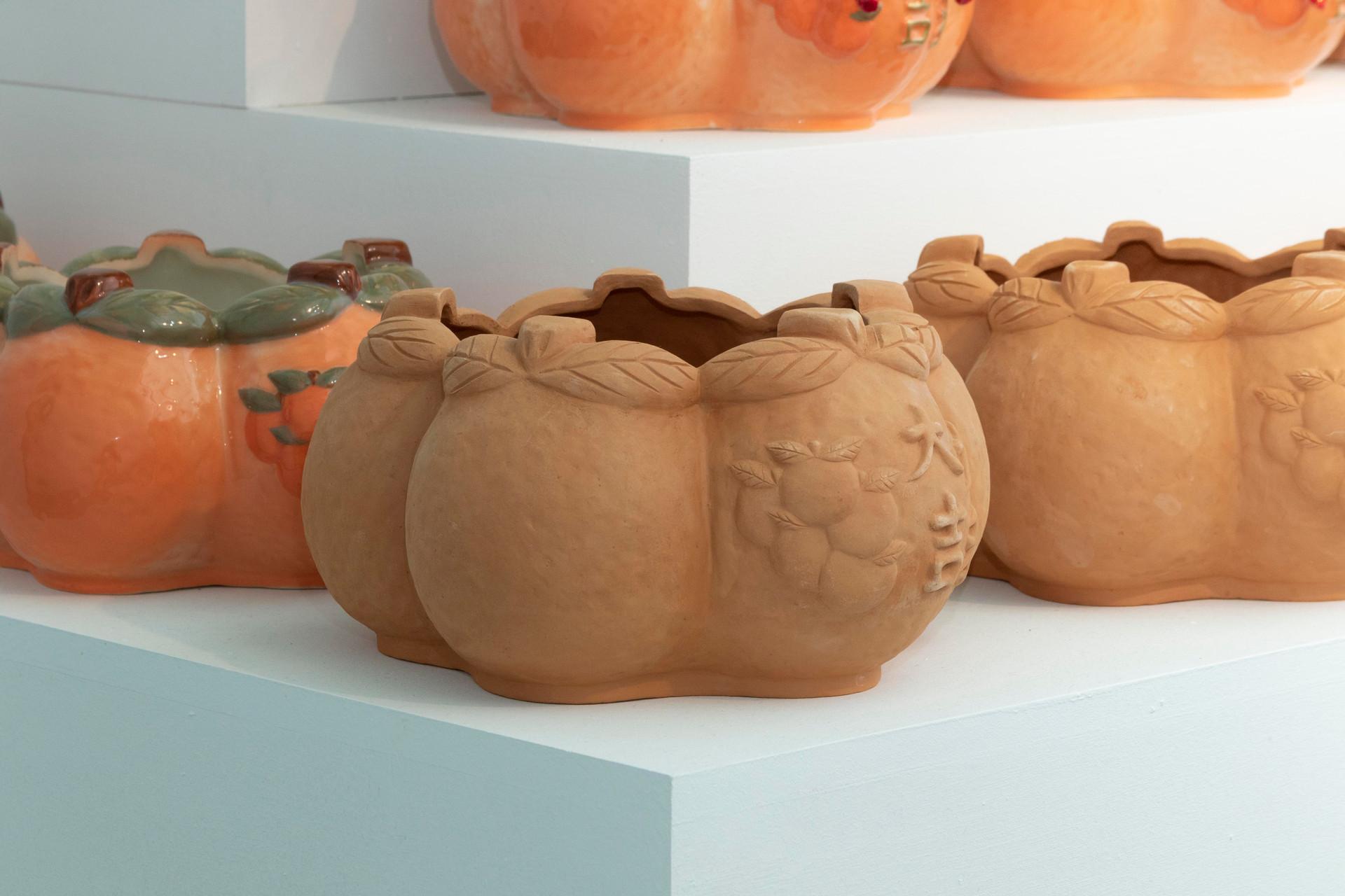 大吉大利五橘盆器(六甲土版)/Five Oranges Fortune Pottery Planter (Liujia Soil Edition)