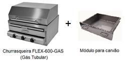 CHURRASQUEIRA FLEX 600-GAS (gás tubular)+MÓDULO CARVÃO