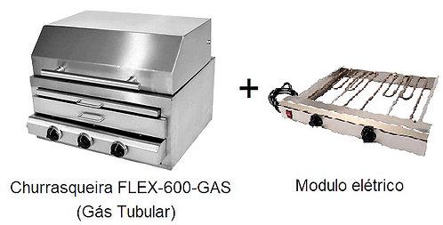 CHURRASQUEIRA  FLEX 600-GAS (gás tubular)+MÓDULO ELÉTRICO
