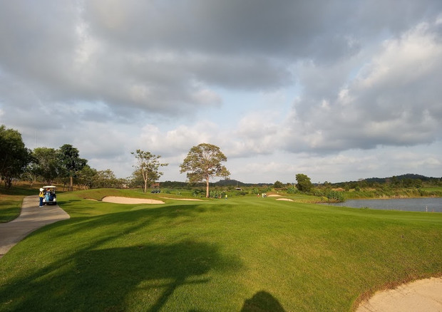 Two nines, the 3,759-yard par-36 Tapioca and the 3,645-yard par-36 Pineapple, feature Asia's first triple green. The Tapioca's seventh and the Pineapple's fourth and ninth holes play to a single green measuring more than 20,000 square feet (1,916 square meters) which serves as a unique focal point at this Pattaya golf course. The green's undulating putting surface is contiguous and is divided into three distinct sections by large swales.