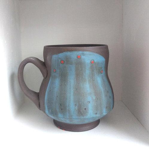 Short chocolate clay mug by Heather Lepp