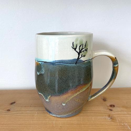 "Landscape mug with tree 4.5"" tall"