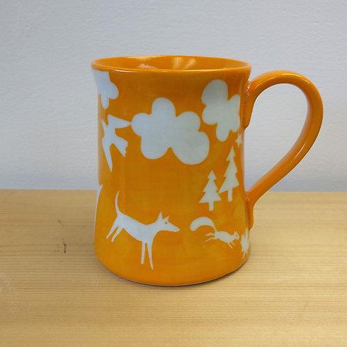 Forest mug on golden yellow