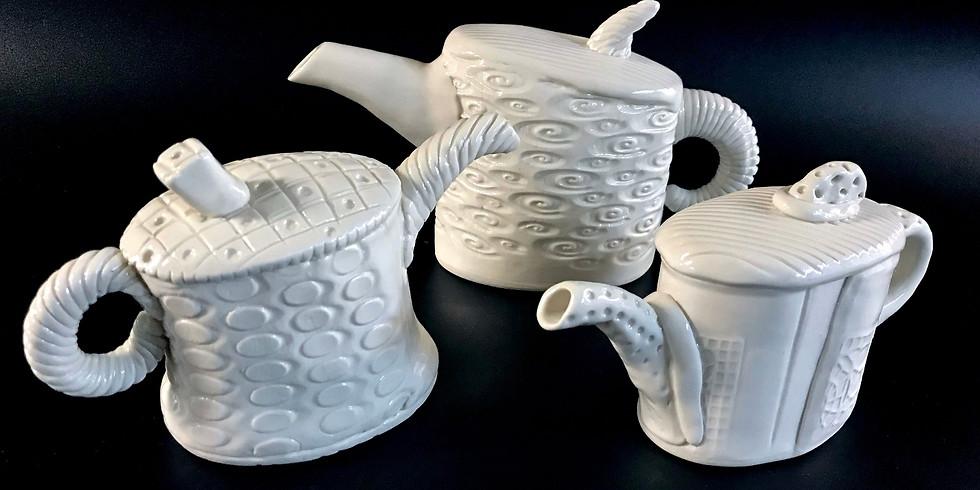 Textured soft slab teapot
