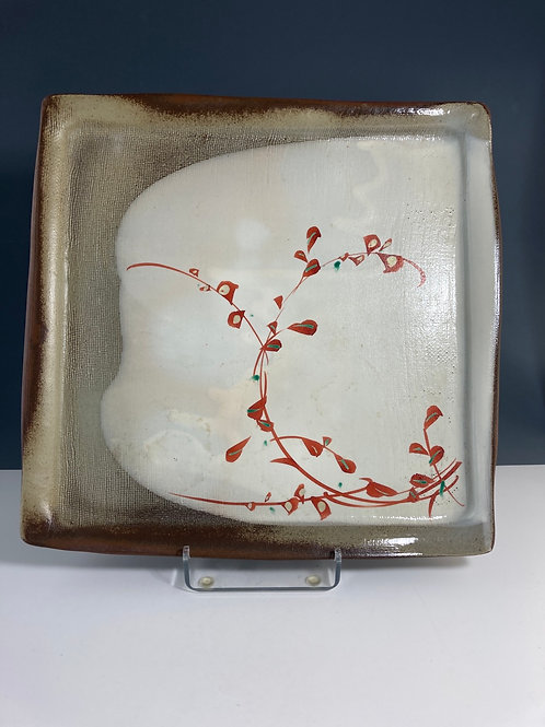 Red clay, red leaves plate