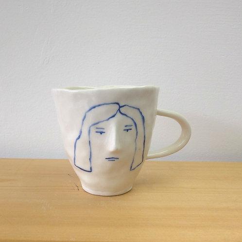 Blue line face mug