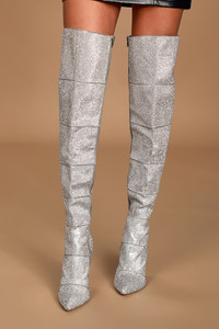 Steve Madden Wonders Rhinestone Pointed-Toe Over the Knee Boots